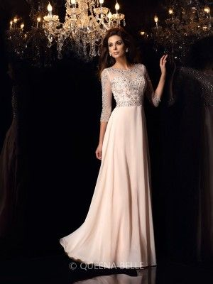 A-Line/Princess Scoop Chiffon 3/4 Sleeves Beading Floor-Length Dresses - Long Prom Dresses - Prom Dresses - QueenaBelle 2017