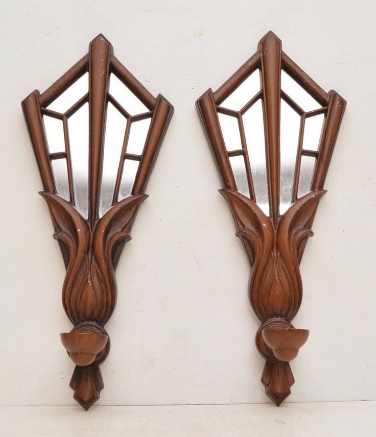 Pair of #MidCentury Faux Wood Metal Mirror Wall #Sconce #CandleHolder #Geometric at #RuthHannas