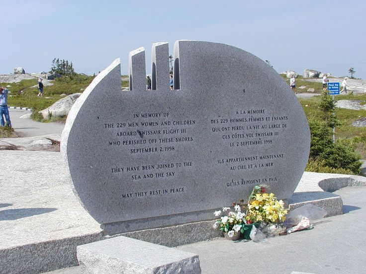 Memorial to Swissair Flight 111 which crashed approximately five miles offshore of Peggy's Cove, Nova Scotia on September 2, 1998 with loss of 229 people. Local fisherman were heavily involved in recovery efforts. ~~ 7/23/2001