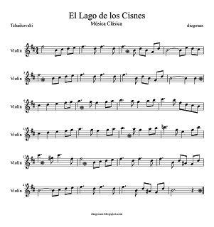 El Lago de los Cisnes partitura para Violín de la escena de la Suite Ballet Opus 20 de El Lago de los Cisnes partitura Fácil arriba. Swan Lake (Music Score) Violin Sheet Music