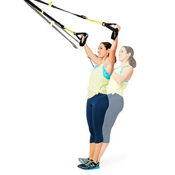 Score flat abs and sculpt your upper bod with the Y-Flye Back Row. We show you how with a TRX strap.
