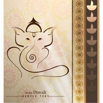 Vector Shubh Diwali Ganesha on traditional pattern background greeting card…