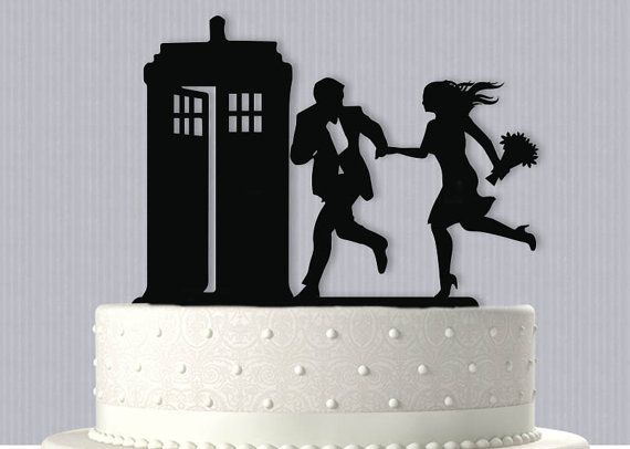 Top your Wedding Cake with this Cute Couple running to the Tardis topper. Topper is made from 3mm acrylic and is food safe. I do ship with
