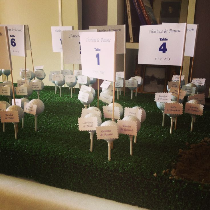 Golf themed wedding table plan escort card one of the for Unusual table plans