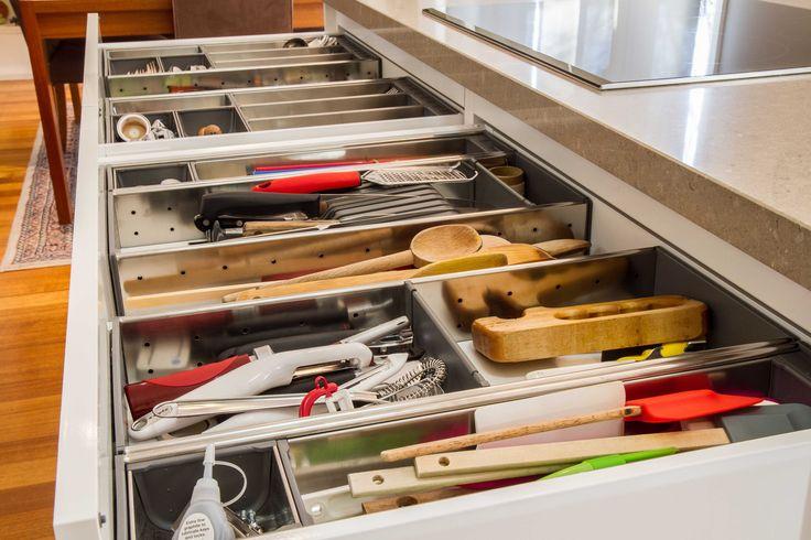 Large cutlery and utensil drawers. Blum orga-line inserts. www.thekitchendesigncentre.com.au