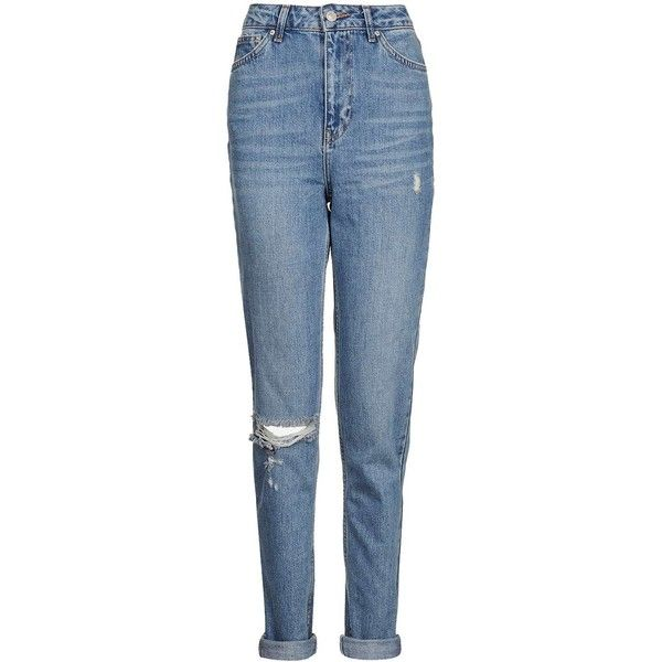 TopShop Tall Rip Mom Jeans (€47) ❤ liked on Polyvore featuring jeans, topshop jeans, blue jeans, high waisted jeans, high waisted ripped jeans and folded jeans