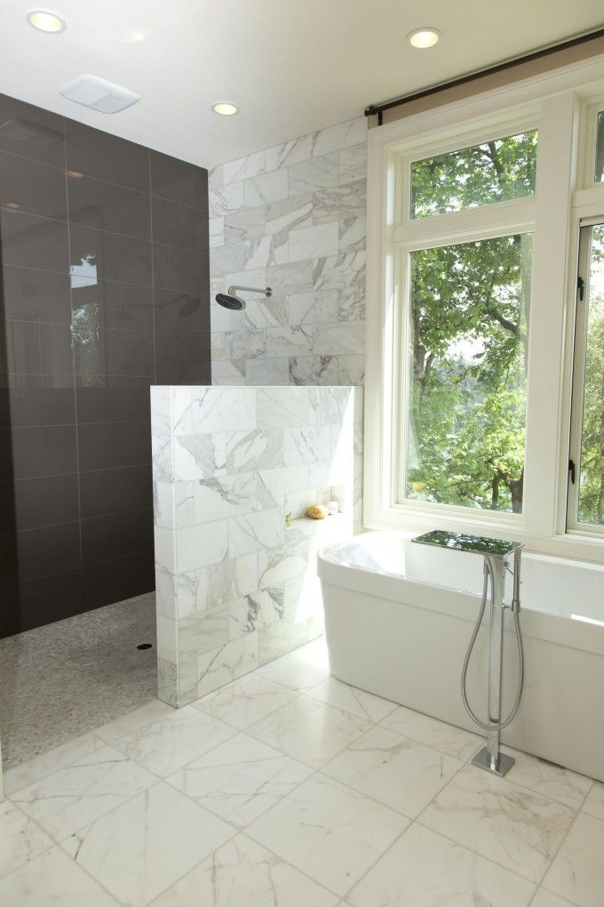 Bahtroom wet room in bathroom presenting white tub and for Showers without glass