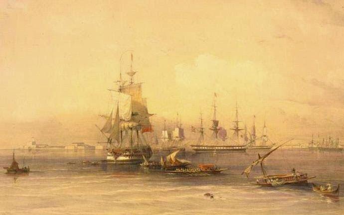 1878'e ait bir tabloda Osmanlı gemileri Mısır, İskenderiye limanına yanaşırken...