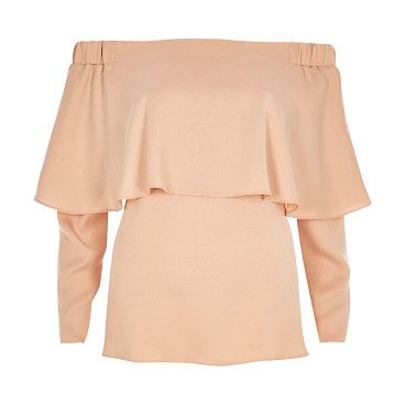"""nude deep frill bardot top by River Island. Lightweight fabric Deep frill detail Relaxed fit Bardot neckline Long sleeve Our model wears a UK 8 and is 175cm/5'9""""..."""