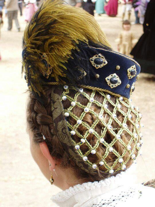 Elizabethan hat and snood,  by Michelle Fennema and Rachelle Sanders