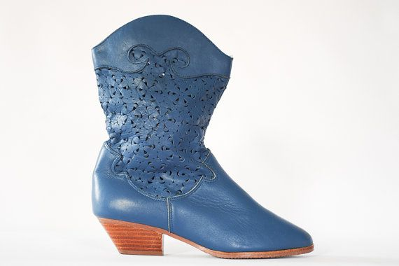 Blue Leather Boots// Size 8// Cut Out Detail// Booties// Dingo Boots// Blue boots size 8 on Etsy, $68.14