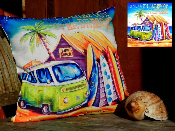 The Gecko Shack - Greenie Summer VW Beach Shack Surf Style Cushion Cover 40 x 40cm  (If you are not Bare Foot You Are Over Dressed), $29.95 (http://www.geckoshack.com.au/greenie-summer-vw-beach-shack-surf-style-cushion-cover-40-x-40cm-if-you-are-not-bare-foot-you-are-over-dressed/)