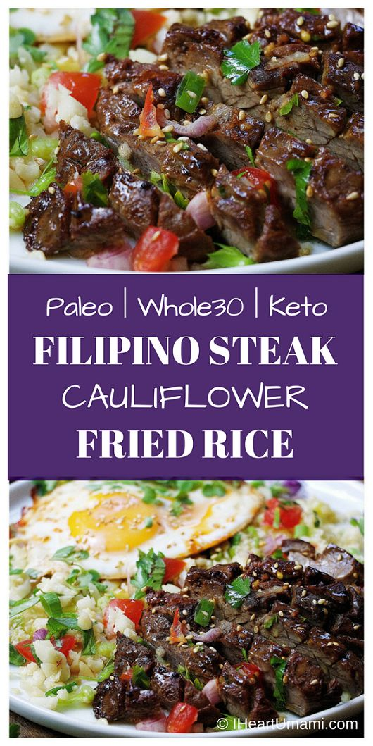 Paleo Filipino Skirt Steak Cauliflower Fried Rice ! Low carb cauliflower fried rice with gluten-free steak marinade pan seared in cast iron skillet. Add this easy healthy recipe to your Paleo, Keto, and Whole30 meal plan. Follow the link for quick video tutorial + print the recipe !  via @iheartumami