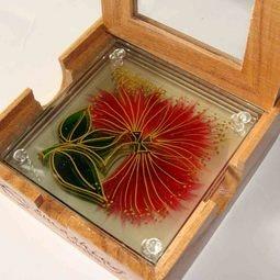 Pohutukawa hand-painted glass coasters