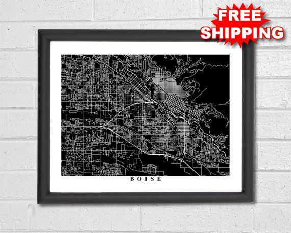 Boise Map Art  Map Print  Black and White  by TheMapCollection