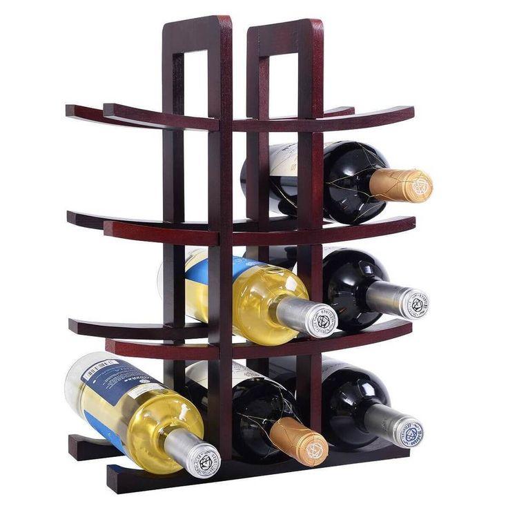 Wine Rack 12 Bottle Wood Home Kitchen Bar Storage  Bottles Holder NEW #1