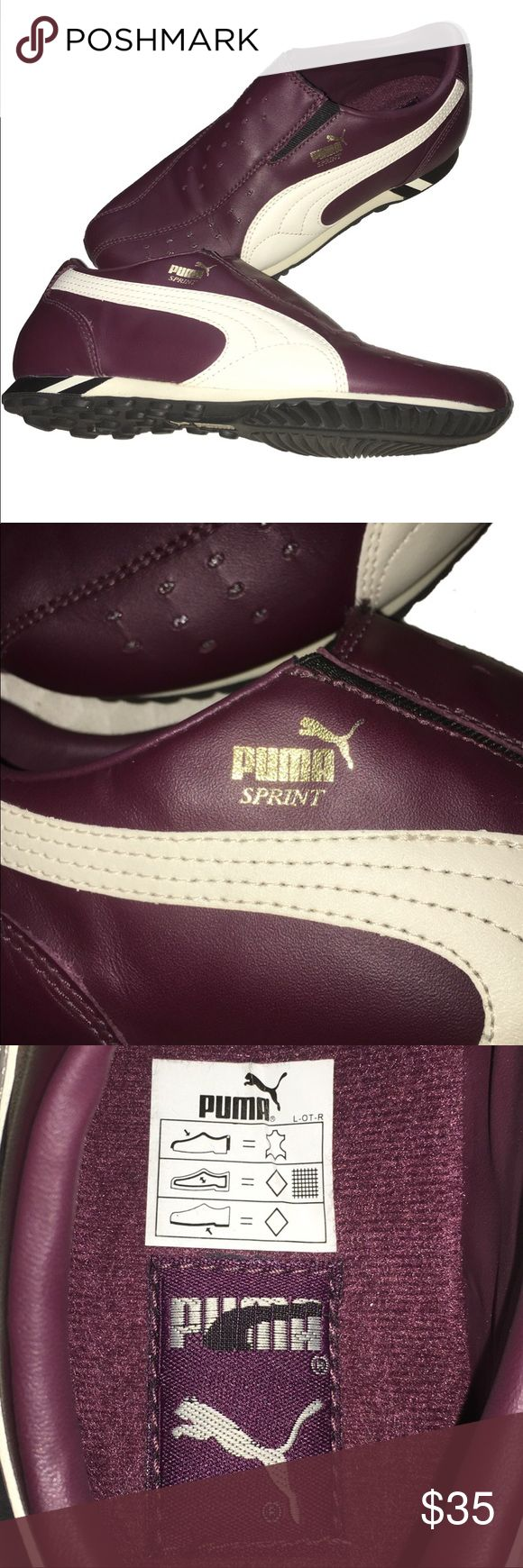 "Women's Puma ""Sprint"" Shoes This is a great pair of women's PUMA ""Sprint"" shoes. These shoes are new and haven't ever been worn. Although they don't come with any original packaging or tags Size: 7.5  NEW without box or tags. Color: Burgandy Puma Shoes Athletic Shoes"