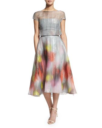 Watercolor+Short-Sleeve+Backless+Dress,+Multi+Colors+by+Lela+Rose+at+Neiman+Marcus.