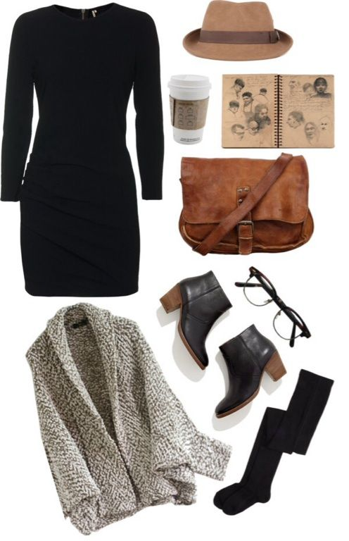IRO black dress, $415 / Brown cardigan / Madewell black boots / Christys felt hat, $33 / Ewers Tights
