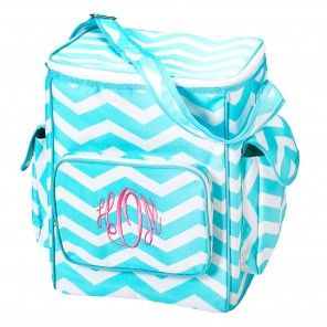 The perfect cooler bag in aqua chevron $32.00
