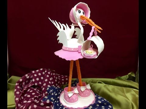 Como Hacer CIGUEÑA DE GOMA EVA - How to make a GOMA EVA stork with a baby - YouTube