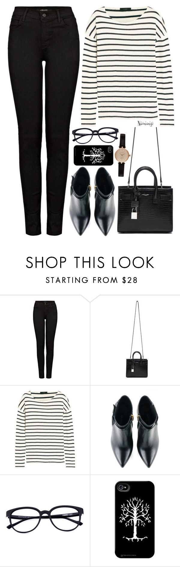 """Untitled #2900"" by naomimjc ❤ liked on Polyvore featuring J Brand, Yves Saint Laurent, J.Crew, Kim Kwang and Barbour"