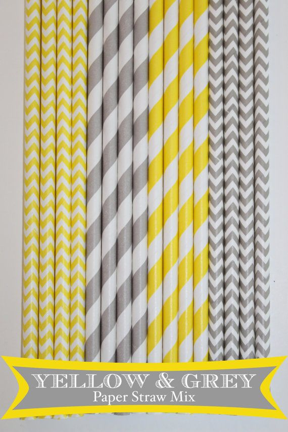 50 Yellow & Grey Paper Straw Mix  PAPER STRAWS birthday party bridal shower event cake pop sticks Bonus diy straws flag on Etsy, $8.68 AUD