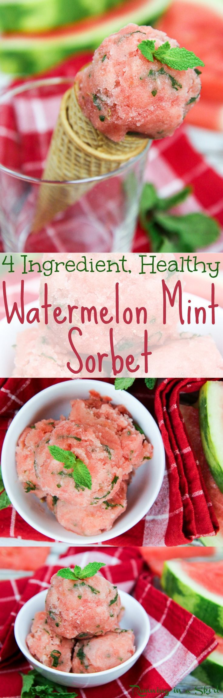 4 Ingredient Vegan Watermelon Nice Cream recipe with mint!  A healthy, homemade and easy no churn, no ice cream maker watermelon sorbet.   Added sugar free using frozen fruit.  The perfect summer dessert or treats/ Running in a Skirt
