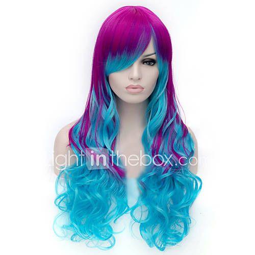 a nova peruca cartoon cor roxo claro azul mistos perucas de cabelo encaracolado de 3595056 2017 por R$80,21
