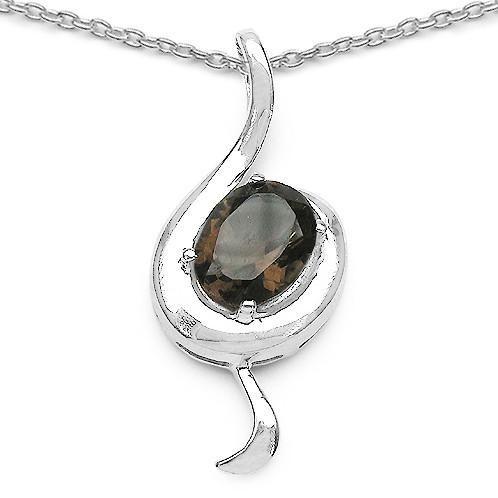 """Smoky Topaz Sterling Silver Treble Clef Pendant Necklace 18"""""""