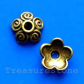 Bead cap, antiqued brass finished, 10mm. #TreasureStone Beads Edmonton. www.TreasureStoneBeads.com