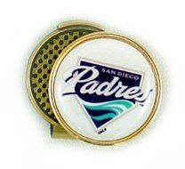 San Diego Padres Hat Clip & Golf Ball Marker by Waggle Pro Shop. $9.95. Great gift idea for golfers. Magnetic golf ball marker sits securely on the hat clip. Never Lose Your Golf Ball Marker Again! . Clip fits hats, caps or belts and is always visible. Show your San Diego pride with a professional baseball team ball marker. Show your team pride and spirit while you golf by wearing a San Diego Padres magnetic golf ball marker hat clip. Forget about fumbling through you...