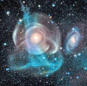 Arp 227 se compone de dos galaxias en la constelación de Piscis: el grande (250.000 años luz de diámetro) galaxia lenticular NGC 474 (también conocido como UGC 864) situada a unos 93 millones de años luz de distancia, y la galaxia espiral NGC 470 en alrededor de 95 millones años luz de distancia. Se encuentran en una separación de unos 160.000 años luz. - Crédito: NASA