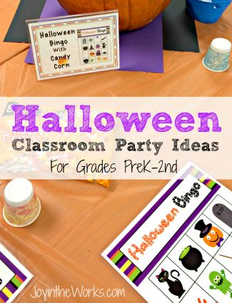 Looking for ideas for your child's class Halloween party? Check out these ideas for Preschool, Kindergarten, 1st and 2nd grade! Includes a printable bingo, make a paper plate spider web and an educational boo mix activity!