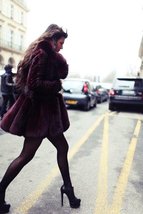 Oxblood fur coat