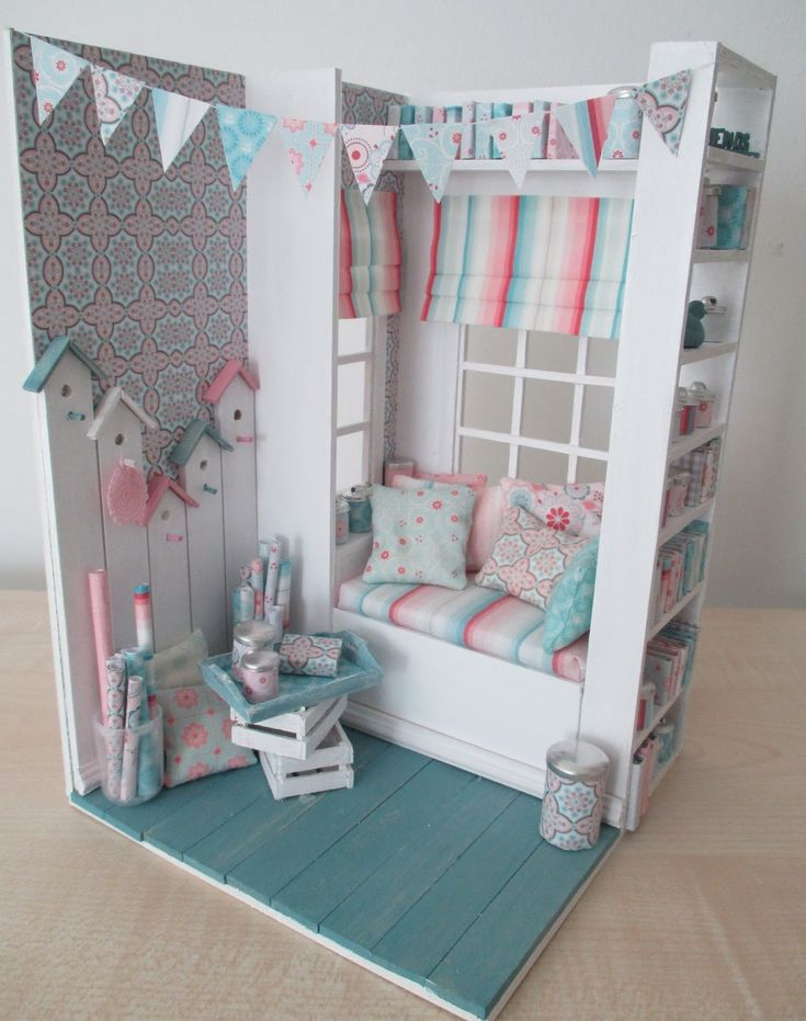 Bright Miniature Country-style Room Box in 1/12 scale.