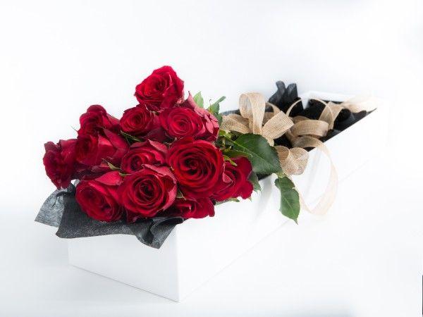 12 Long Stem Red Roses in a white gift box. www.fleurus.com.au
