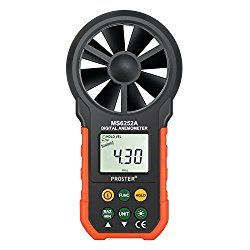Proster Anemometer Portable Wind Speed Meter Gauge Air Volume Measuring Meter with Backlight for Weather Data Collection and Outdoors Sports Windsurfing Kite Flying Sailing