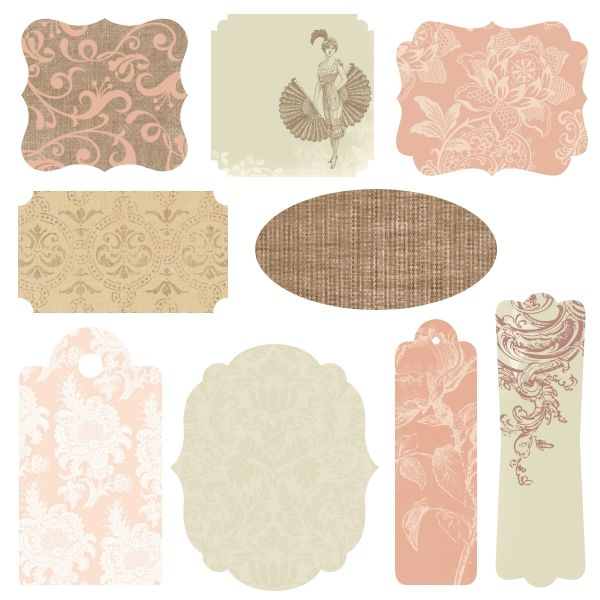 #Free #Printables - French Bliss Labels and Tags | These are beautiful elegant shabby chic labels and tags that coordinate with the digital paper pack of the same name. It has lovely shades of gold, chocolate brown, sage green, pink, rose, and ivory.