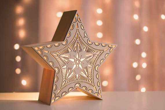 Star Night Light - Laser Cut Wood Lantern - Wooden Accent Lamp - Tabletop or Wall Hanging Nightlight
