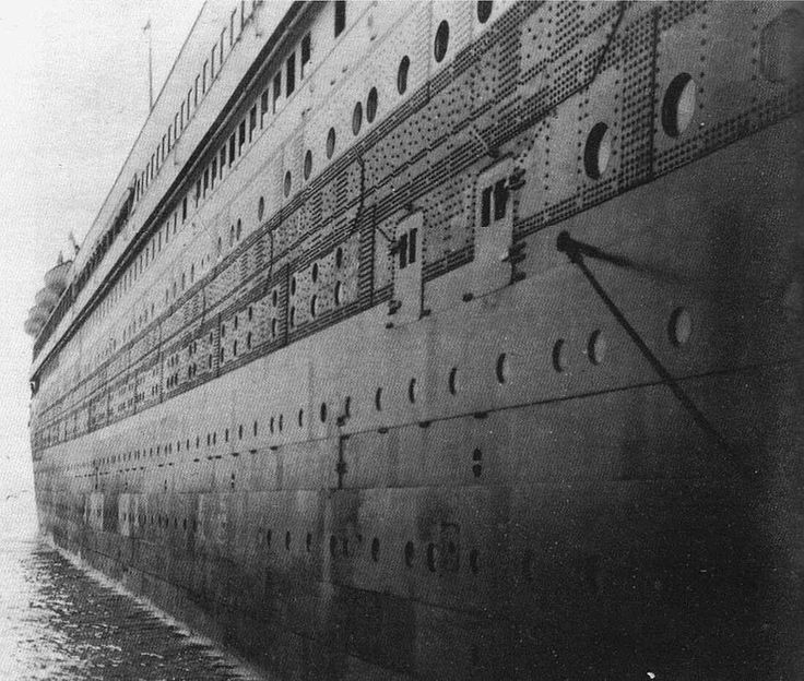 """""""Titanic""""'s starboard shell plating  (looking aft)"""