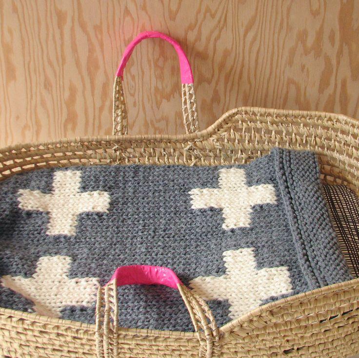 Knitted Cross Baby Blanket for Bassinet, Stroller, or Car Seat in Grey/Cream. $60,00, via Etsy.