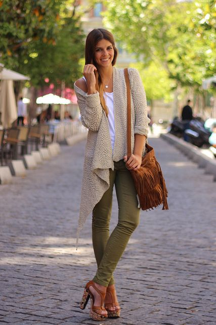 Love this outfit, both the silhouette and the colors -- olive and tan is  always a winning combination with me.