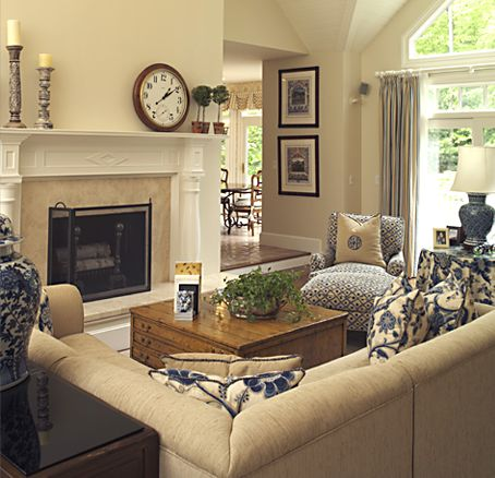 Would Like A Two Way Fireplace To Be More Open Kitchen And Breakfast Nook Navy Living RoomsCozy Family RoomsBlue