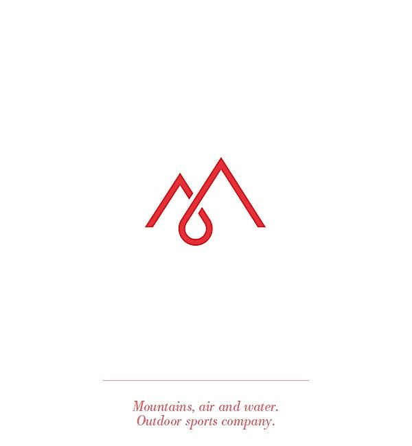 M logo / monogram / red / water drop / mountain / typographic