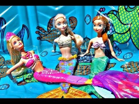 Frozen MERMAIDS Color Changing Barbie Doll Elsa Mermaid & Anna Ariel Outfit DisneyCarToys