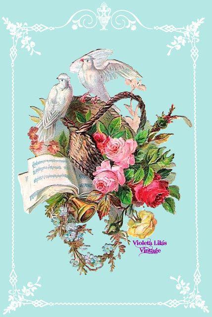 Violeta lilás Vintage: Pássaros com Flores