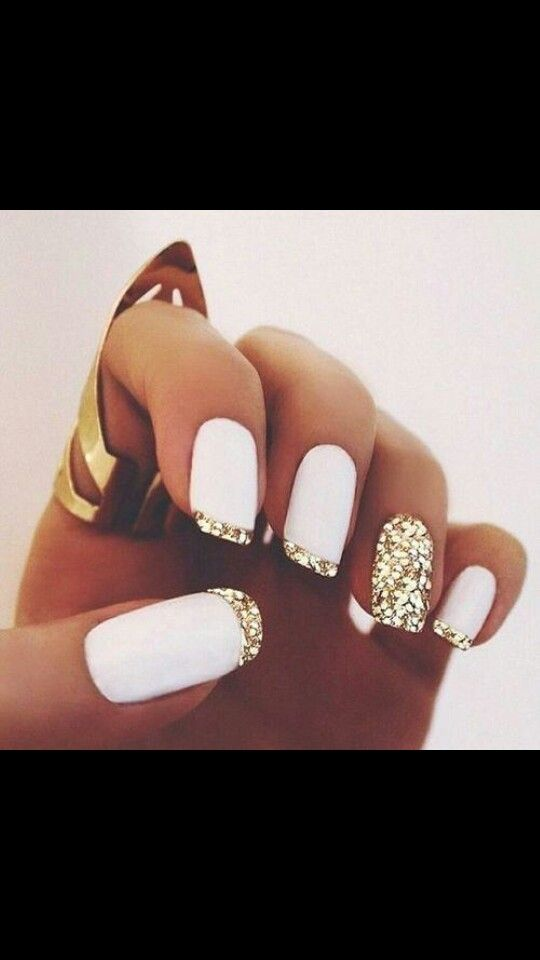 White and gold sparkly rhinestone french manicure long pretty nails