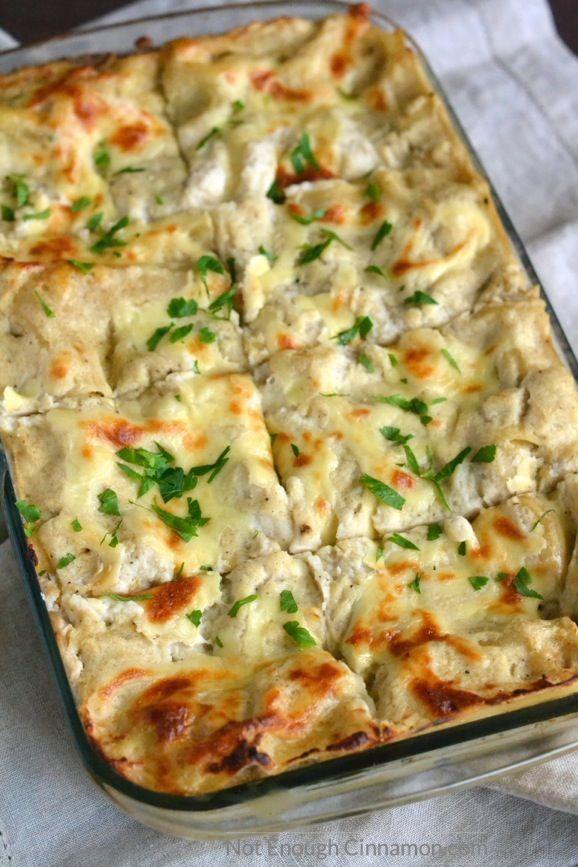 Skinny Chicken Alfredo Lasagna - As delicious as the original, half the calories! | Find the recipe on NotEnoughCinnamon.com