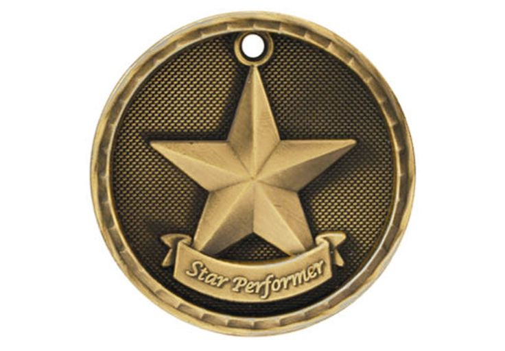"""3-D MEDALLION Star Performer - 2"""". Available in Gold, Silver, or Bronze."""